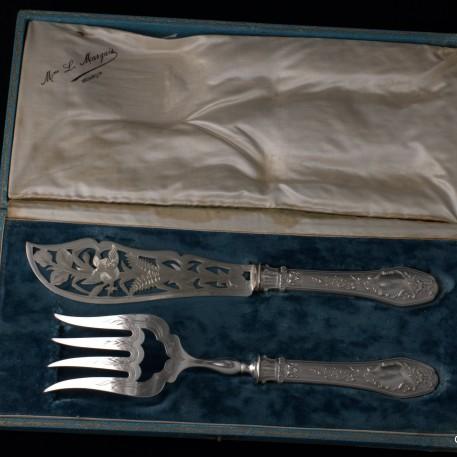 Набор для рыбы, столовое серебро, Франция, кон. 19 в