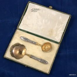 Набор для десерта в кофре, столовое серебро, Франция, кон. 19 в