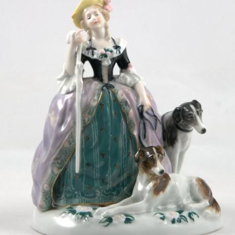 Дама с тростью и двумя собаками, Karl Ens, Германия, 1920-30 гг