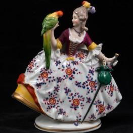 Дама с тростью и попугаем, Миниатюра, Ernst Bohne Sohne, Германия, 1901-37 гг