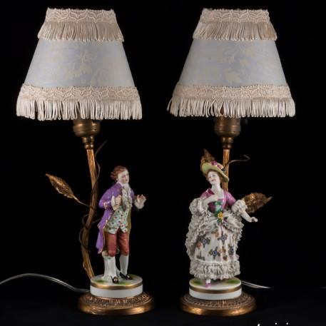 Настольные лампы, Пара в сиреневых костюмах, Muller & Co, Германия, 1907-52 гг