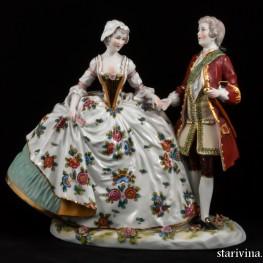 Пара в костюмах 18 века, Ernst Bohne Sohne, Германия, нач. 20 в