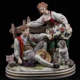 Пара играющая с собачкой, Ackermann & Fritze, Германия, 1908-1951 гг