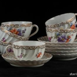Чайный набор из 6 чашек с блюдцами, Nymphenburg, Германия, кон. 19 - нач. 20 вв