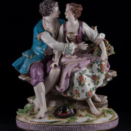Большая романтическая пара с корзиной, Volkstedt, Германия, до 1935 г