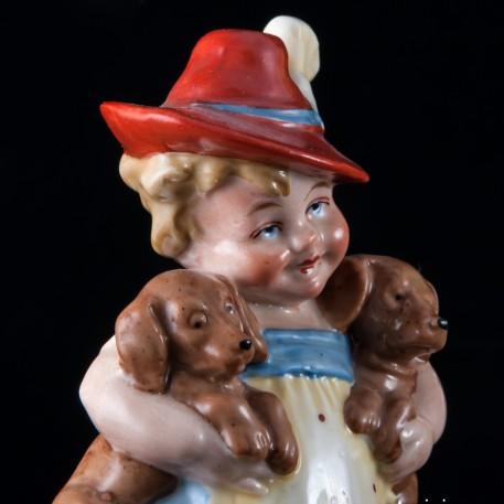 Девочка с двумя щенками, Wagner & Apel, Германия, до 1949 г