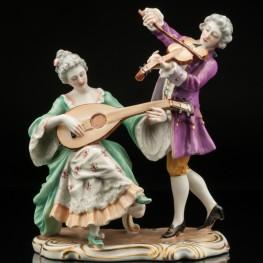 Дуэт, скрипка и мандолина, Capodimonte, Италия, сер. 20 в