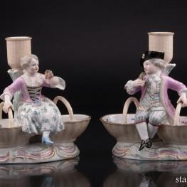 Фарфоровые подсвечники дети с корзинами, Meissen, Германия, кон. 19 в