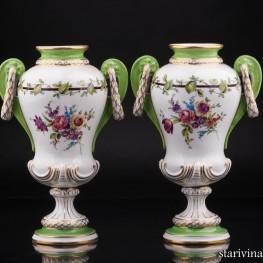 Две вазы, ручная роспись, Carl Thieme, Германия, нач. 20 в