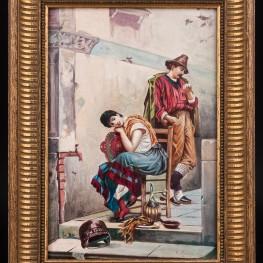 Картина маслом Картина Пара влюбленных, Германия,, 1956 г.