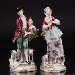 Пастушки, пара с флейтой и волынкой, Ernst Bohne Sohne, Германия, сер. 20 в