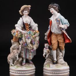 Пасторальная пара с овечкой и собачкой, Ernst Bohne Sohne, Германия, кон. 19 - нач. 20 вв