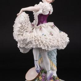 Неаполетанский танец, танцовщица с бубном, кружевная, Ackermann & Fritze, Германия, нач. 20 в
