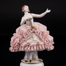 Девушка в розовом платье, кружевная, Muller & Co, Германия, нач. 20 в