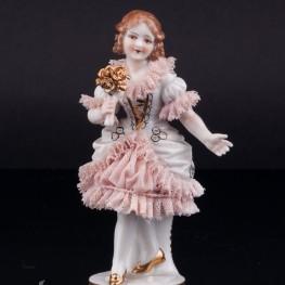 Девочка с цветком, кружевная, миниатюра, Muller & Co, Германия, пер. пол. 20 в