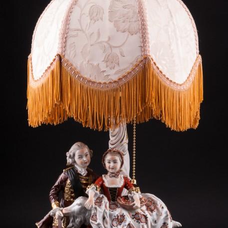 Композиция из фарфора Пара с козлом, лампа, Дрезден, Германия, 1960 гг.
