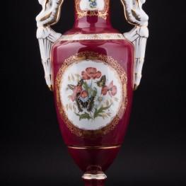 Ваза Красная ваза Бабочки , Франция, сер. 20 в