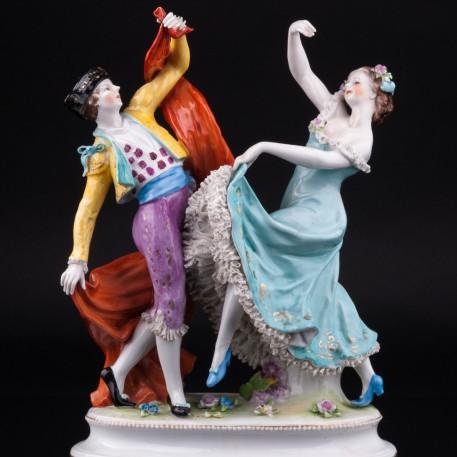 Статуэтка танцовщицы из фарфора Испанский танец, кружевная, Volkstedt, Германия, до 1935 г.