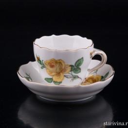 Кофейная пара Желтая Роза, Meissen, Германия, вт. пол. 20 в