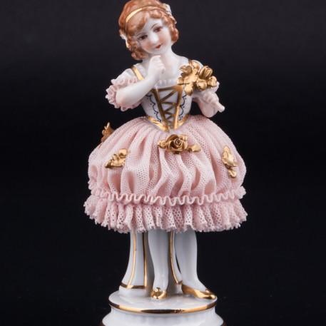 Девочка с букетом, кружевная, Muller & Co, Германия, нач. 20 в