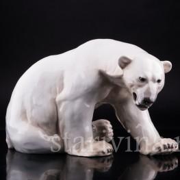 Сидящий белый медведь, Bing & Grondahl, Дания, 1950-60 гг