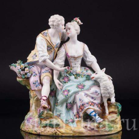 Пара с цветами и овечкой, Samson, Франция, кон. 19 - нач. 20 вв