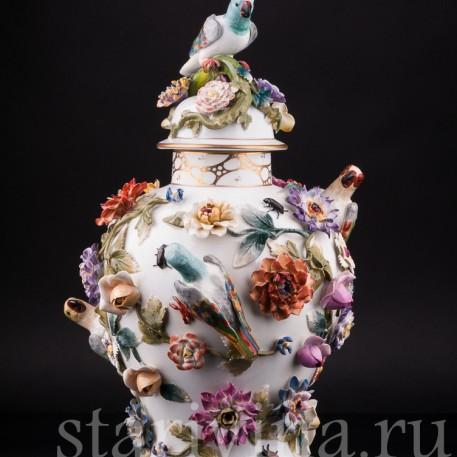 Ваза Попугаи и цветах, Германия, кон. 19 - нач. 20 вв