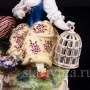 Статуэтка из фарфора Пасторальная пара с птичками и овечкой, Carl Thieme, Германия, сер. 20 в.