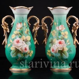 Парные зеленые вазы , Франция, кон. 19 в