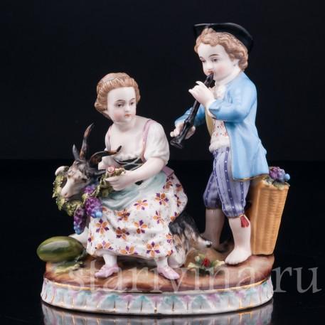 Мальчик с дудочкой и девочка с козочкой, Sitzendorf, Германия, кон. 19 в