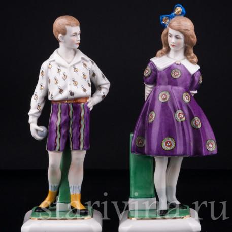 Фарфорвая статуэтка детей Мальчик и девочка, Goebel, Германия, 1920-30 гг.
