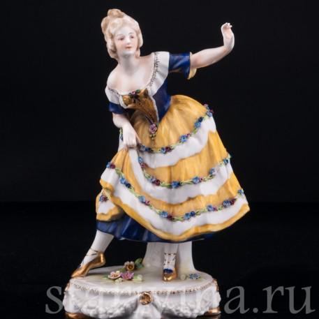 Танцующая девушка в желтом платье, Дрезден, Германия, нач. 20 в