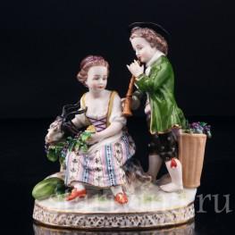 Мальчик с дудочкой, девочка с козочкой, (аллегория Осени), Германия, 19 в