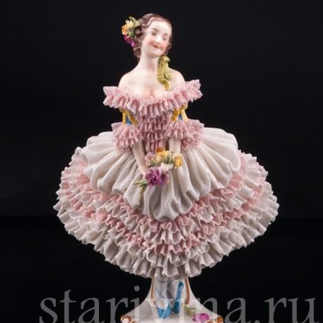 Балерина с букетом, кружевная, Volkstedt, Германия, сер. 20 в