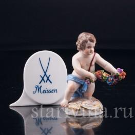Путти с гирляндой цветов, миниатюра, Meissen, Германия, 19 в