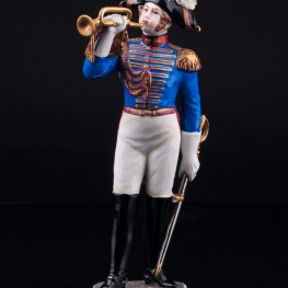 Фарфорвая статуэтка солдата Трубач дворянской гвардии, 1801, Volkstedt, Германия, вт. пол. 20 в.