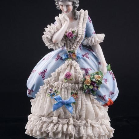 Девушка с букетом цветов, кружевная, Muller & Co, Германия, 1907-1952 гг