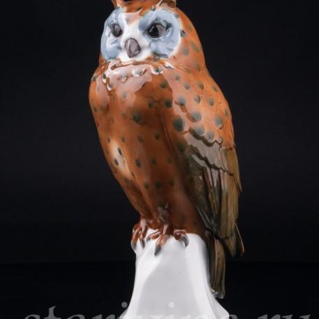 Фигурка птицы из фарфора Ушастая сова, Goebel, Германия, 1923-49 гг.