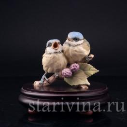 Фигурка птиц из фарфора Лазоревки на ежевике, Alka Kaiser, Германия, вт. пол. 20 в.