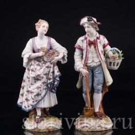 Садовники, пара с цветами, Dressel, Kister & Cie, Германия, 1903-04 гг