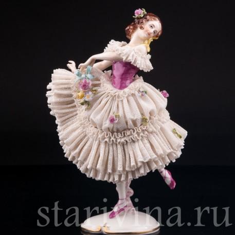 Танцующая девушка, кружевная, Volkstedt, Германия, сер. 20 в