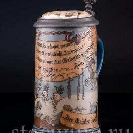 Выпивоха на Олимпе, 1/2 л, Villeroy & Boch, Mettlach, Германия, 1892 г