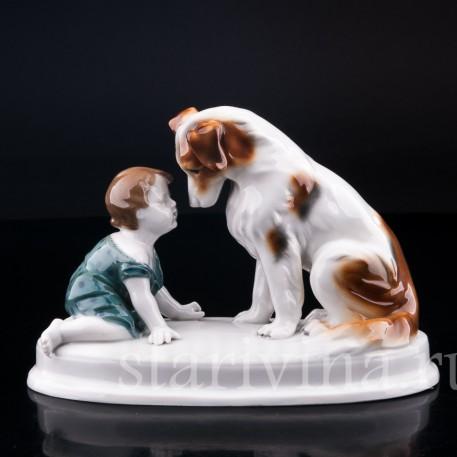 Малыш с собакой, Goebel, Германия, нач. 20 в