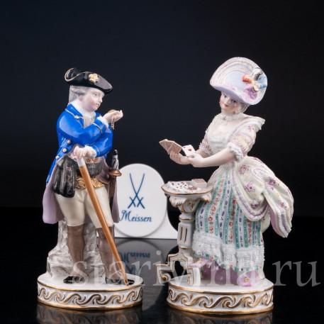Пара, кавалер с часами, дама с картами, Meissen, Германия, кон. 19 - нач. 20 вв