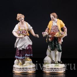 Пара в желтых костюмах , Volkstedt, Германия, нач. 20 в