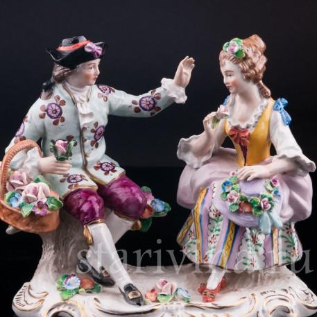 Пара с цветами, Sitzendorf, Германия, вт. пол. 20 в