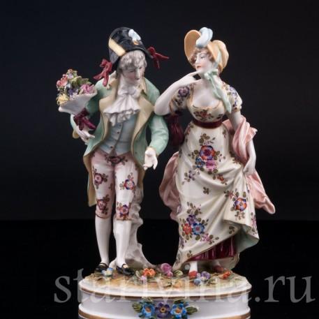 Фарфорвая статуэтка Галантная пара, Volkstedt, Германия, кон. 19 в.