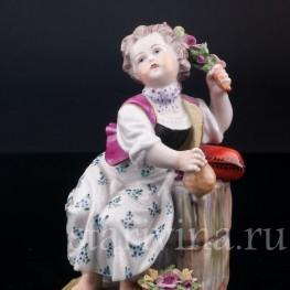 Девочка с розовой веткой , Carl Thieme, Германия, вт. пол. 20 в