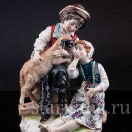 Статуэтка из фарфора Дети с овечкой и котом, Ernst Bohne Sohne, Германия, кон. 19 - нач. 20 вв.
