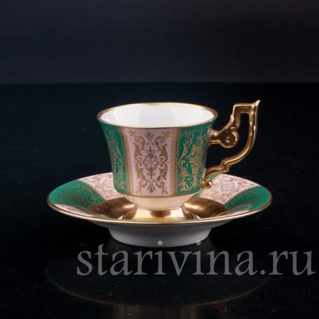 Кофейная пара, зеленая с золотом, Heinrich & Co, Германия, сер. 20 в.